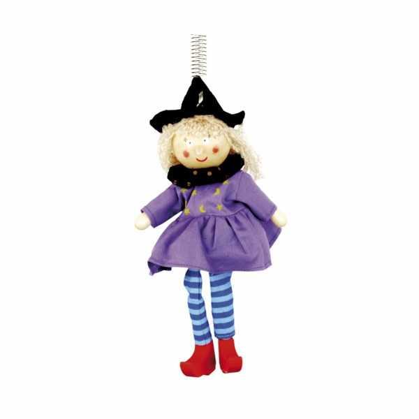 Bino Dřevěná figurka na pružině čarodějka