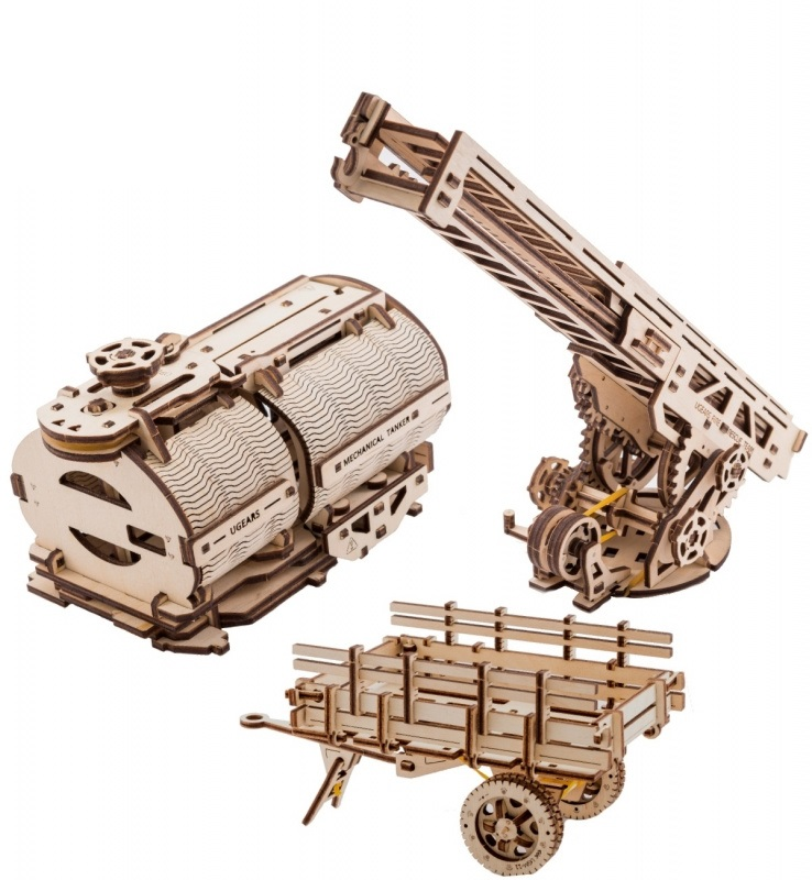 Ugears 3D dřevěné mechanické puzzle Nádstavba cisterna a hasičský vůz k Truck UGM 11