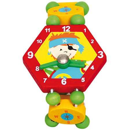 Dřevěné hračky - Dřevěné hodinky pirát - červené