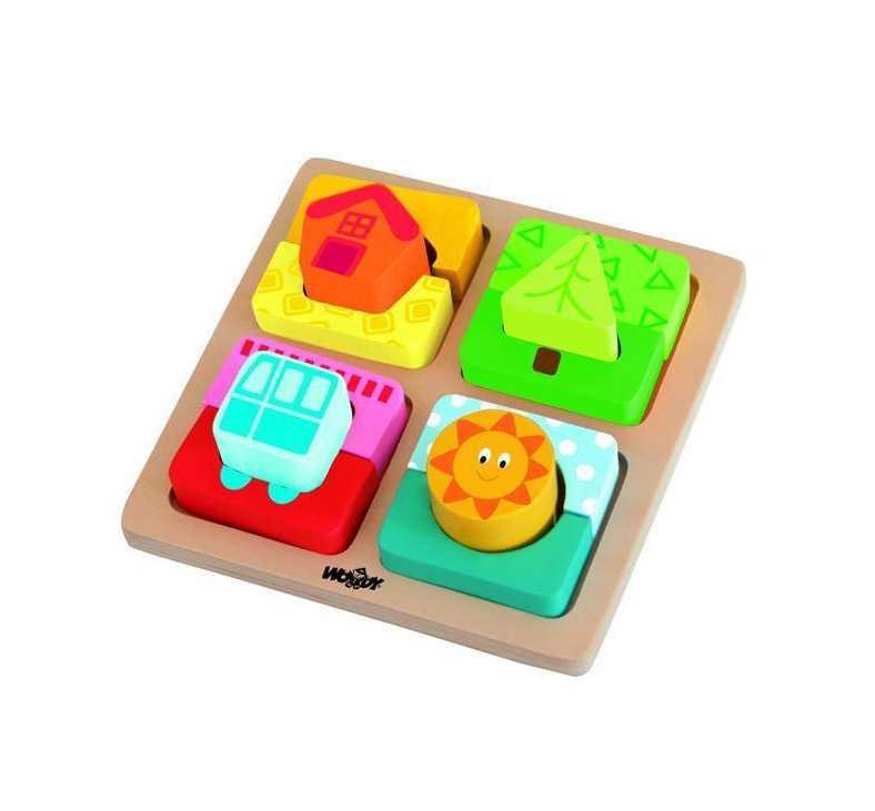 Woody Destička s puzzle tvary slunce domova