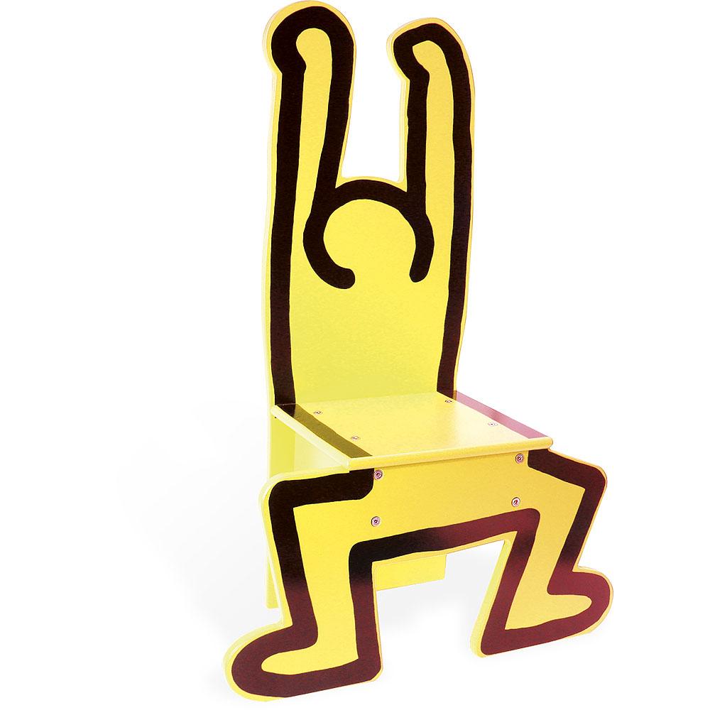 Vilac Dřevěná žídle Keith Haring žlutá