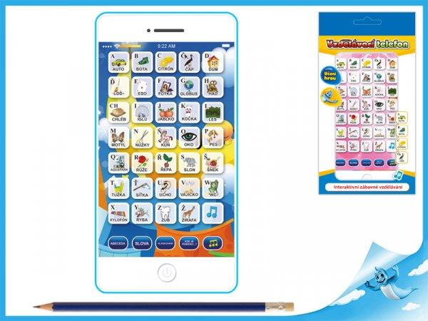 Interaktivní vzdělávací telefon  mluvící česky - modrý