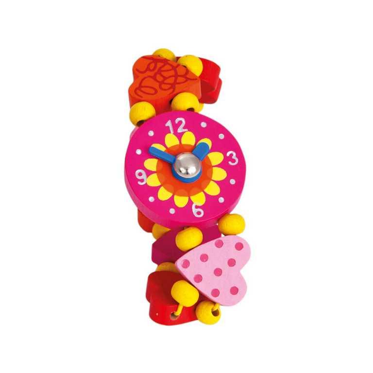 Dřevěné hračky - Dřevěné hodinky - srdíčka