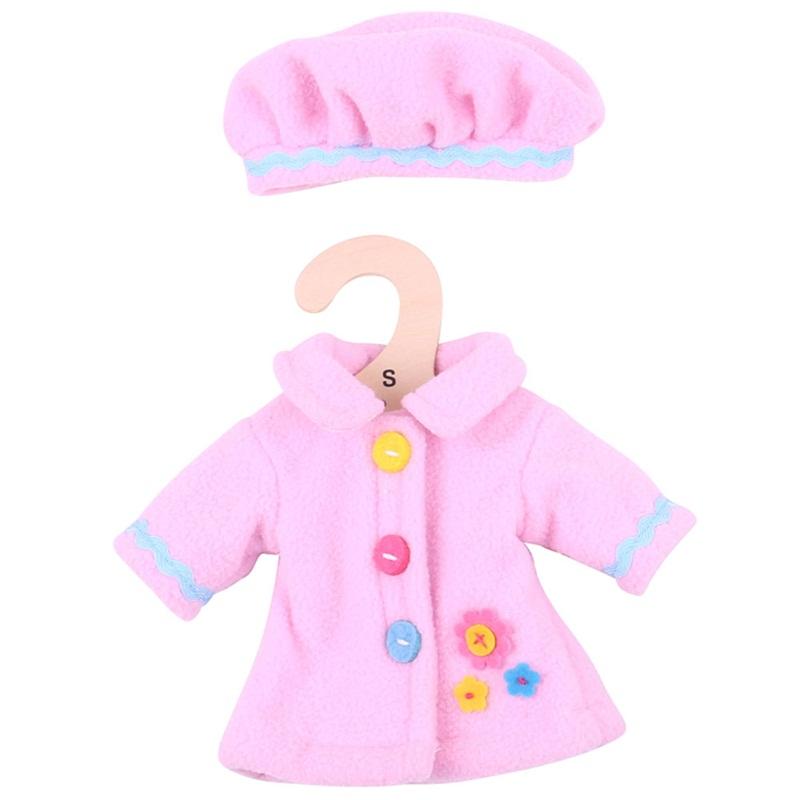 Bigjigs Toys Růžový kabátek s knoflíky pro panenku 28 cm