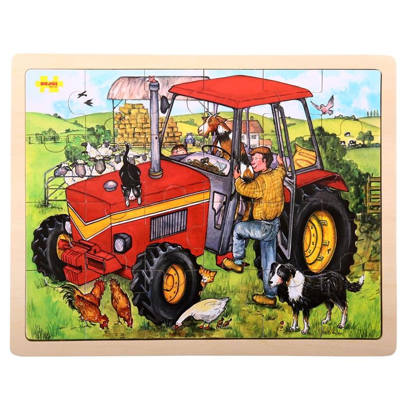 Bigjigs Toys Dřevěné puzzle traktor 24 dílků