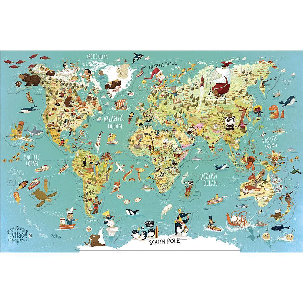 Vilac Nástěnná magnetická mapa světa (anglická verze)