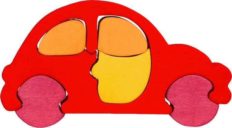 Fauna Dřevěné vkládací puzzle z masivu malé auto červené