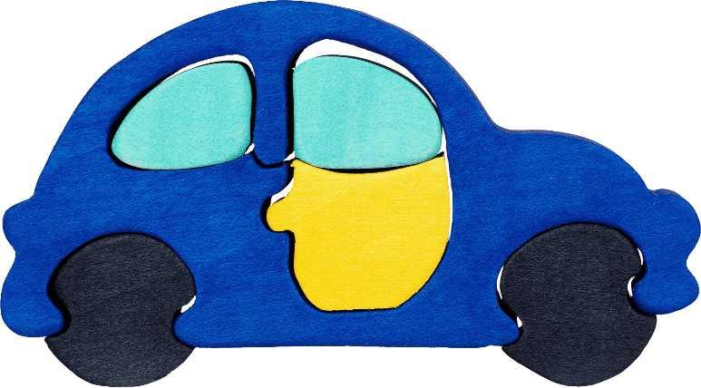 Fauna Dřevěné vkládací puzzle z masivu malé auto modré