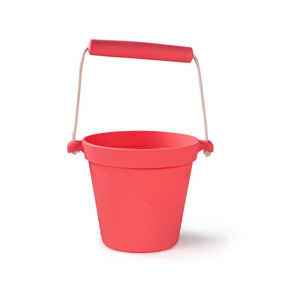 Bigjigs Toys Plážový kyblíček tmavě růžový