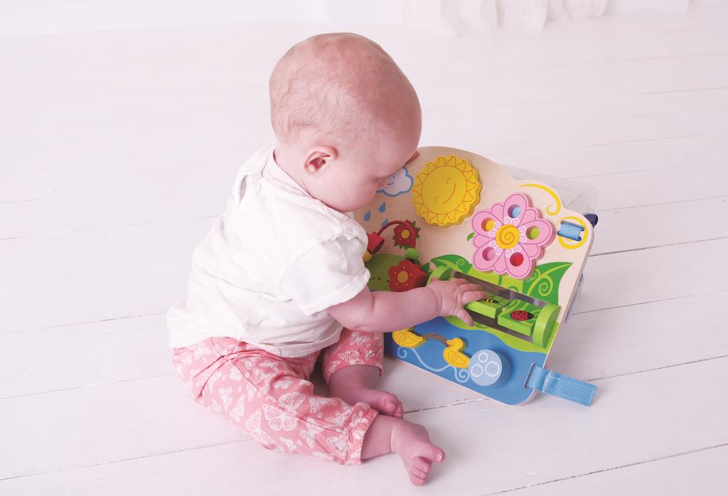 Bigjigs Baby Dřevěná motorická deska květy