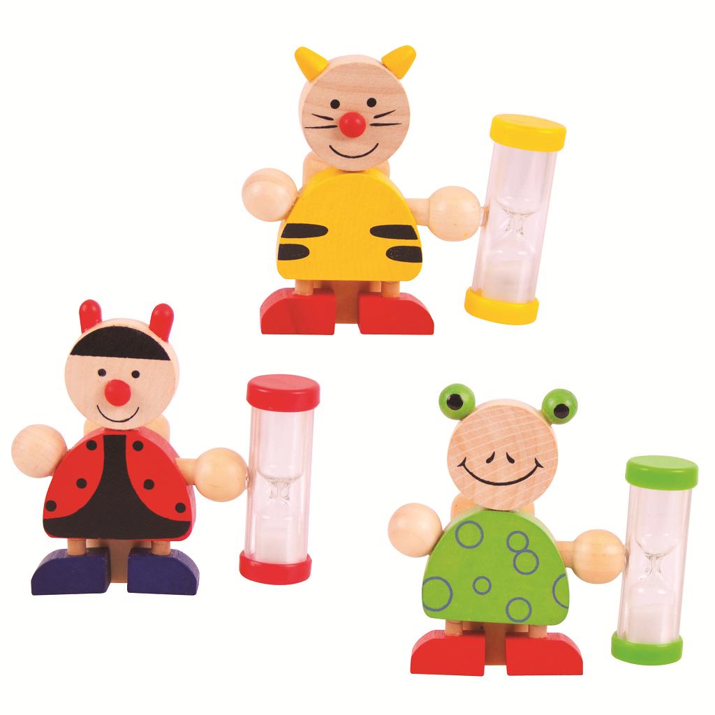 Bigjigs Toys Stojánek na kartáček s přesýpacími hodinami 1ks  žabka