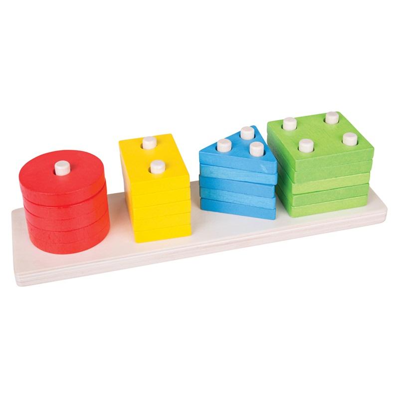 Bigjigs Toys Dřevěná motorická deska tvary barvy tyče