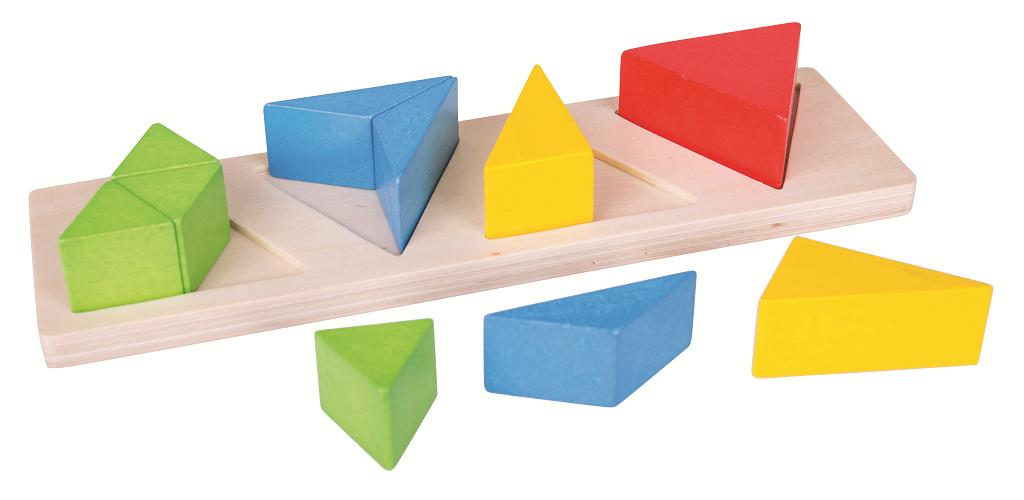 Bigjigs Toys Vkládací puzzle zlomky trojúhelníky