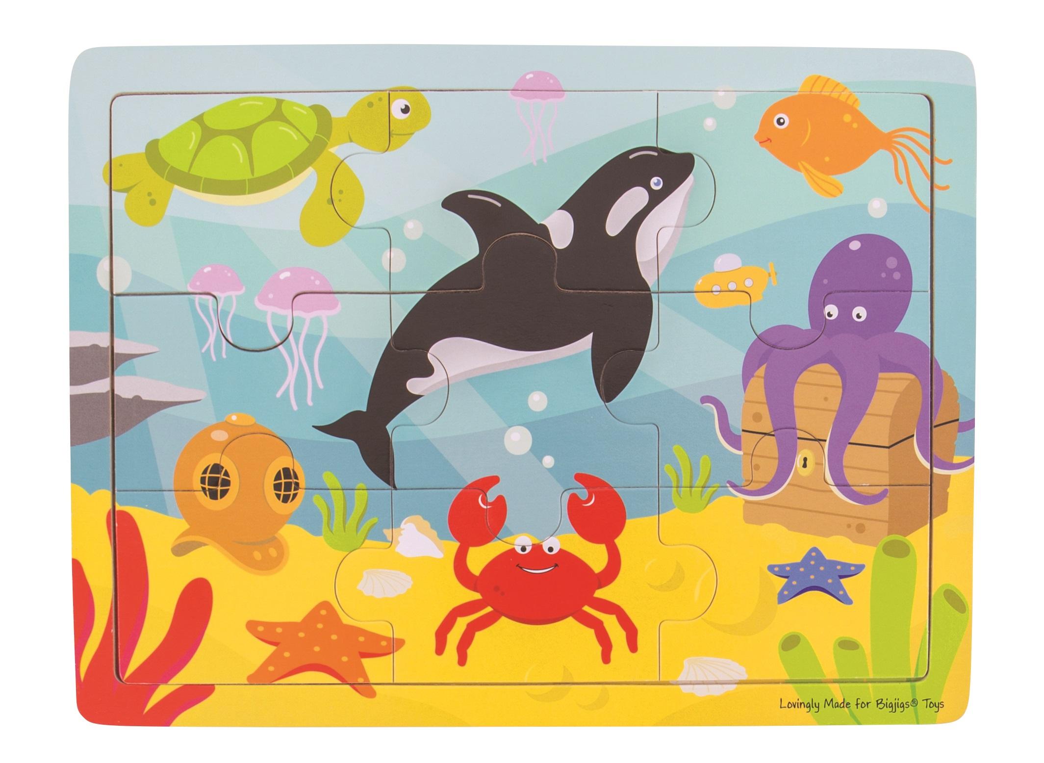 Bigjigs Toys Dřevěné puzzle mořský svět