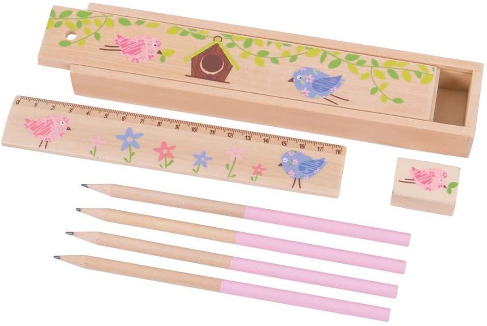 Bigjigs Toys dřevěný penál ptáčci 1ks růžová Bigjigs Toys dřevěný penál ptáčci 1ks růžová