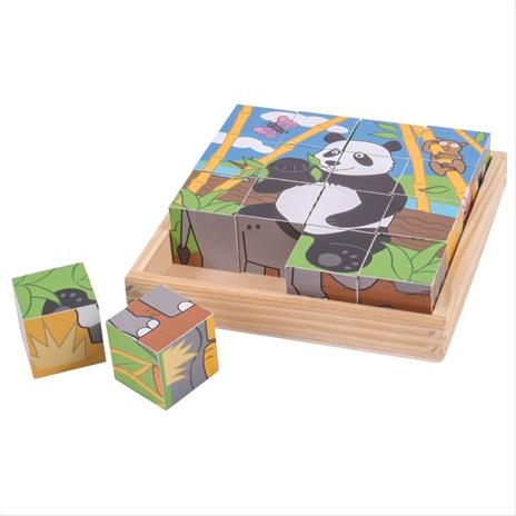 Bigjigs Toys Obrázkové kostky divoká zvířátka