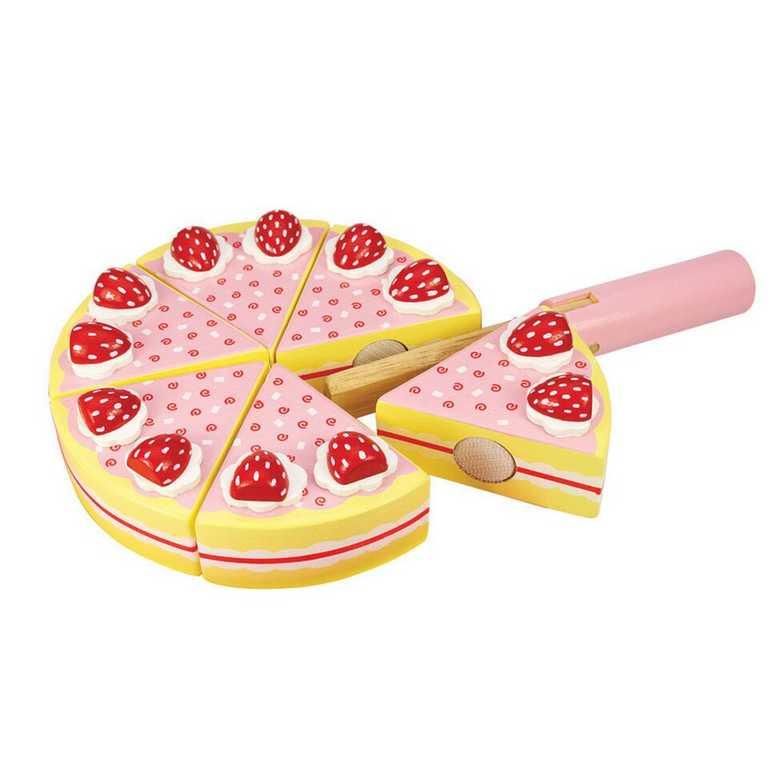 Bigjigs Toys Dřevěný krájecí dort s jahodama