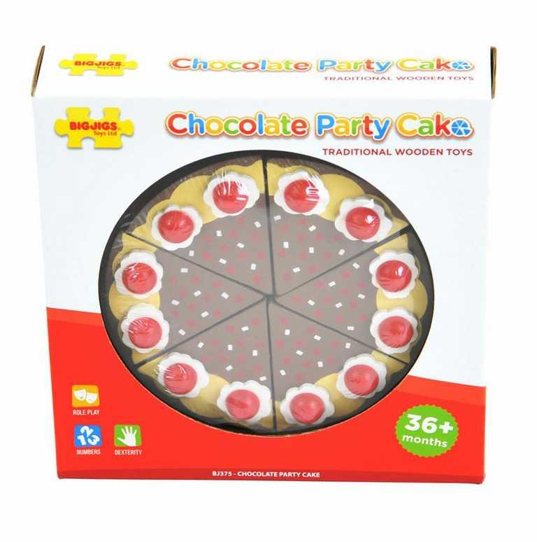 Bigjigs Toys Dřevěný krájecí čokoládový dort
