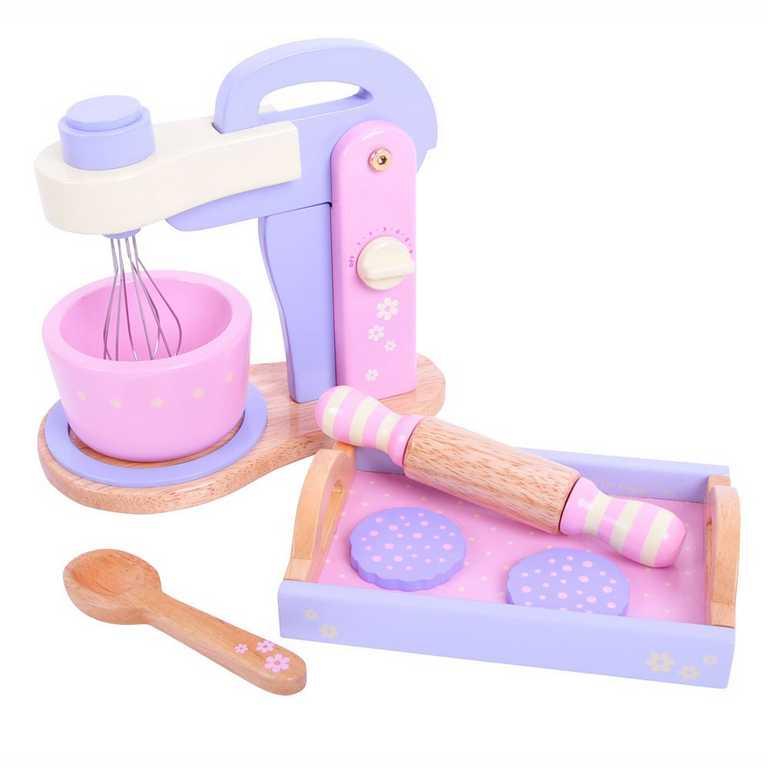 Dřevěné hračky - Dřevěný růžový mixér s tácem