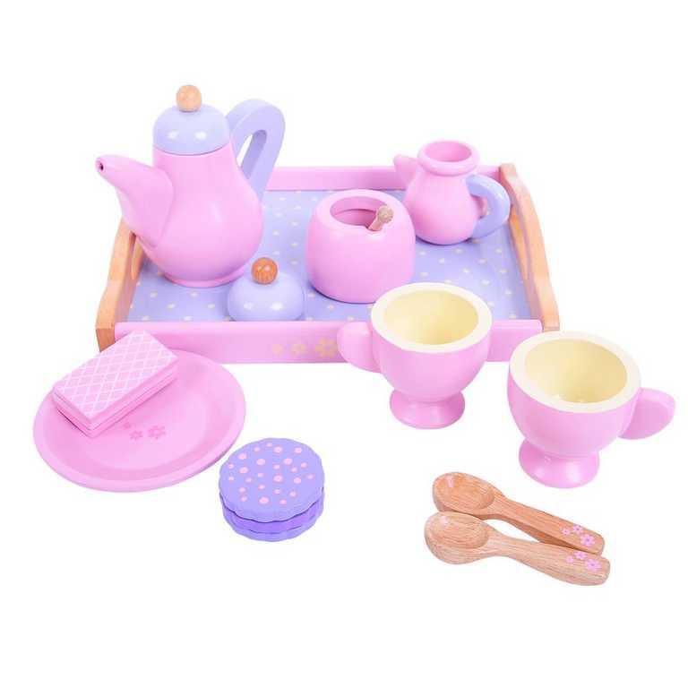 Bigjigs Toys Dřevěný čajový set růžový