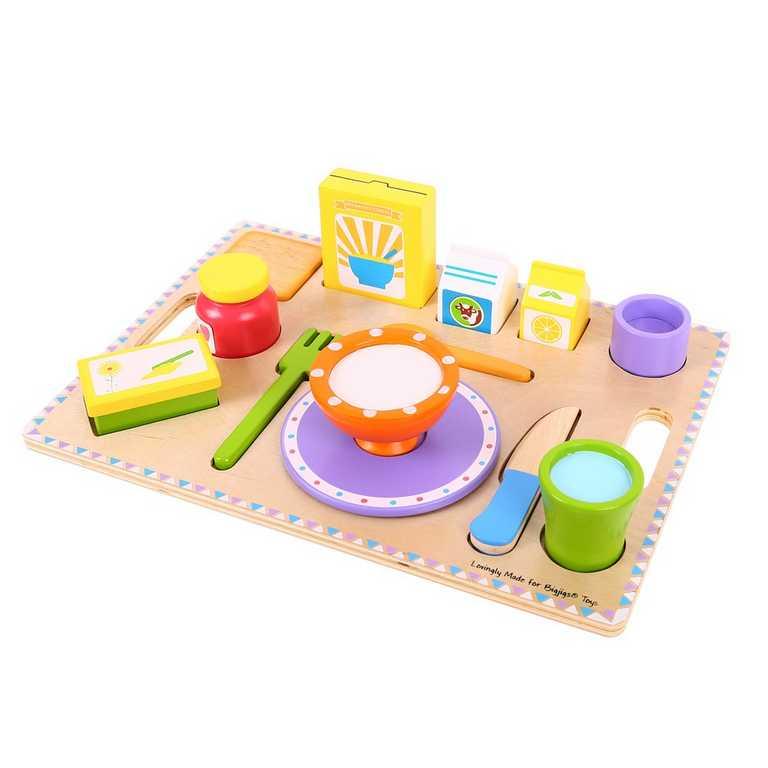 Bigjigs Toys Snídaně na podnose 14 dílů
