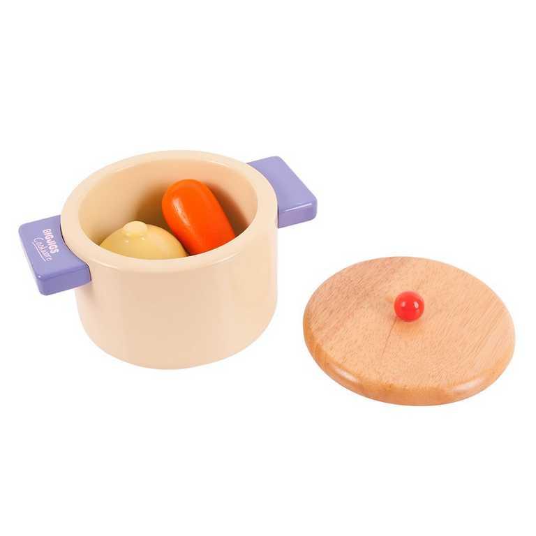 Bigjigs Toys Dřevěný hrnec se zeleninou