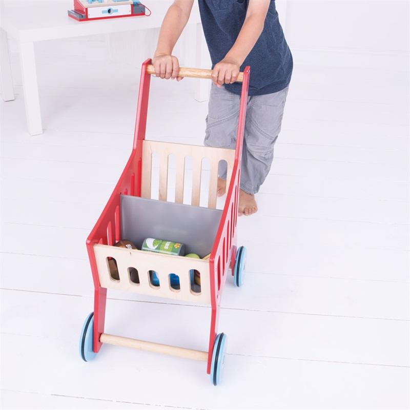 Bigjigs Toys Dřevěný nákupní vozík Supermarket