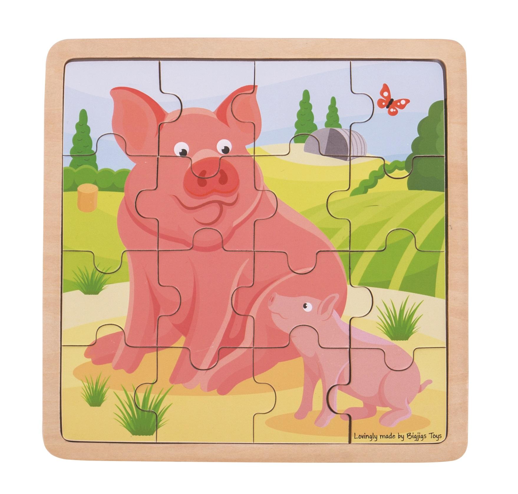 Bigjigs Toys puzzle - Prasátko se selátkem