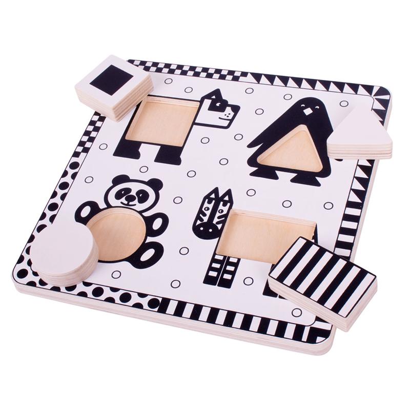 Bigjigs toys dřevěné vkládací puzzle - černobílé tvary