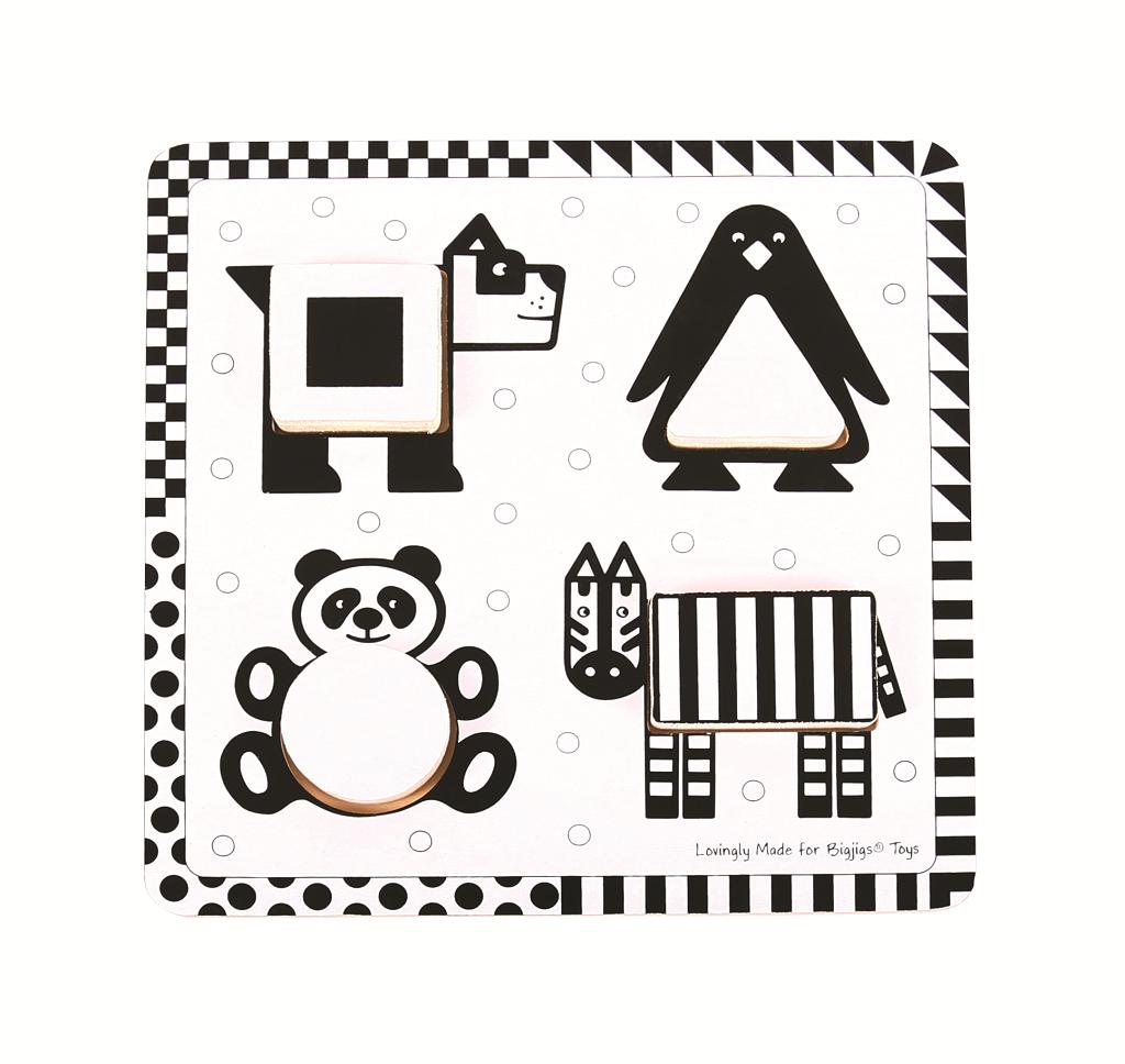 Bigjigs Toys Dřevěné vkládací puzzle černobílé tvary