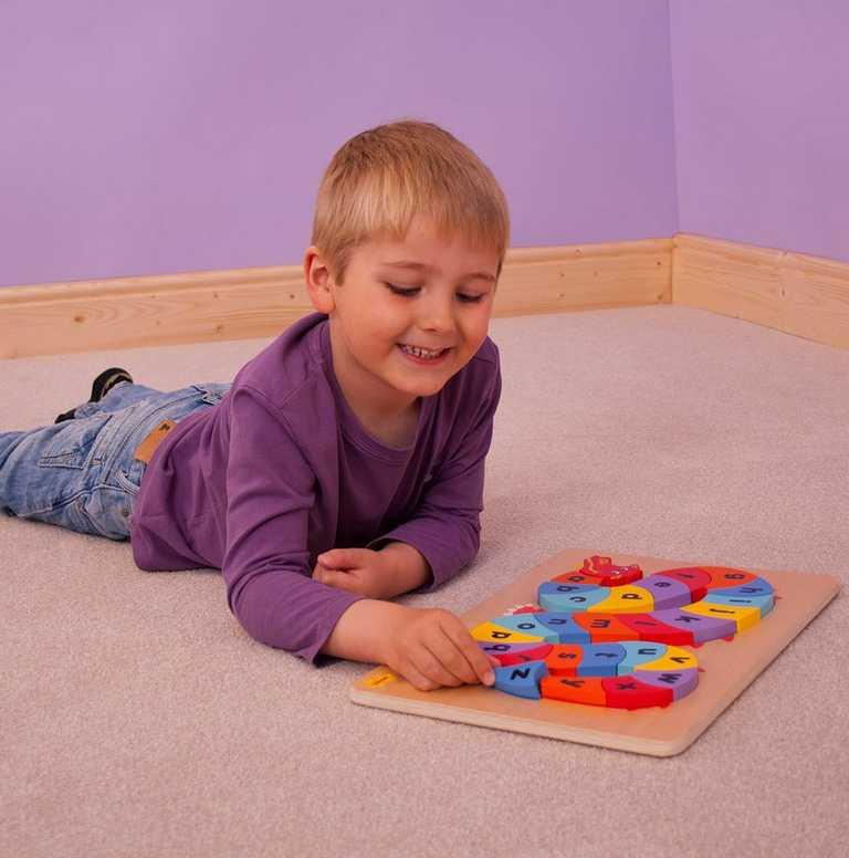 Dřevěná motorická a vzdělávací hračka - Abeceda drak