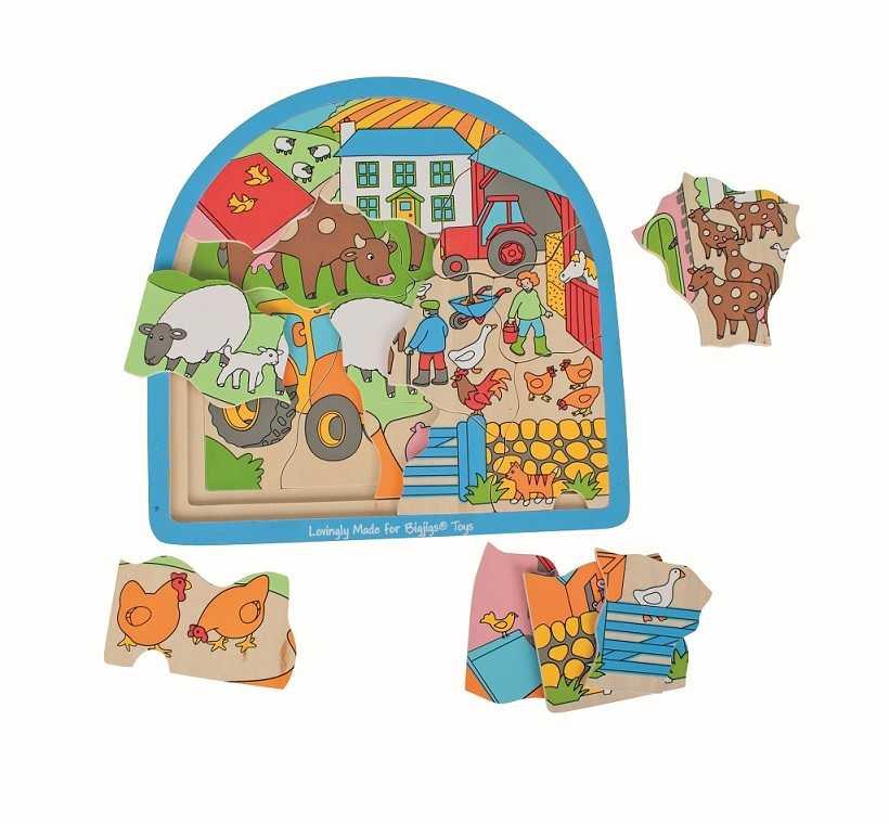 Bigjigs Toys Dřevěné vícevrstvé puzzle Farma