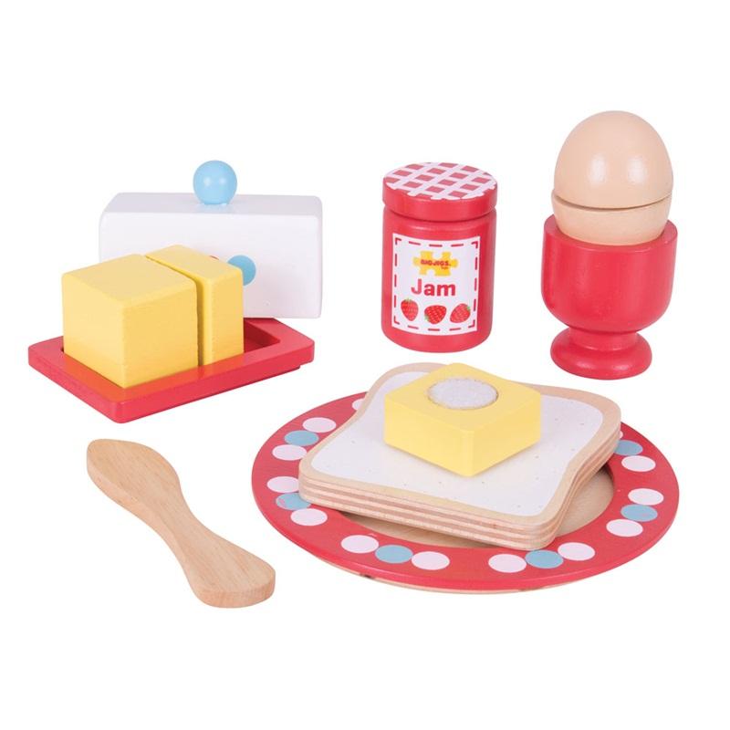 Bigjigs Toys-  Dřevěné hračky - Set snídaně
