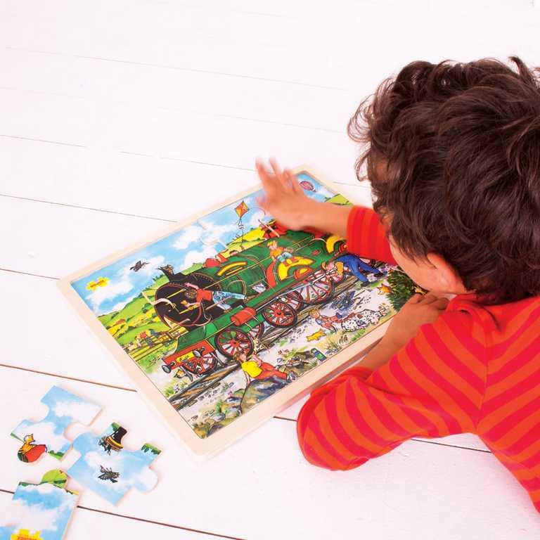 Bigjigs Toys Dřevěné puzzle vlak 24 dílků