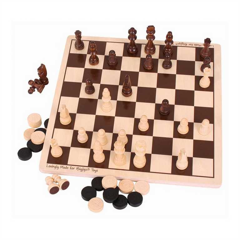 Bigjigs Toys Dřevěné šachy a dáma