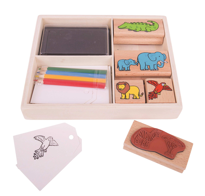 Bigjigs Toys Dřevěné razítka s pastelkami Safari