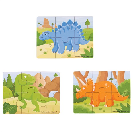 Bigjigs Toys puzzle 3v1 dinosauři