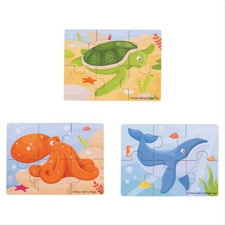 Bigjigs Toys puzzle 3v1 mořská zvířátka