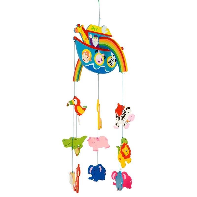 Bigjigs Toys Dřevěný závěsný kolotoč Noemova archa