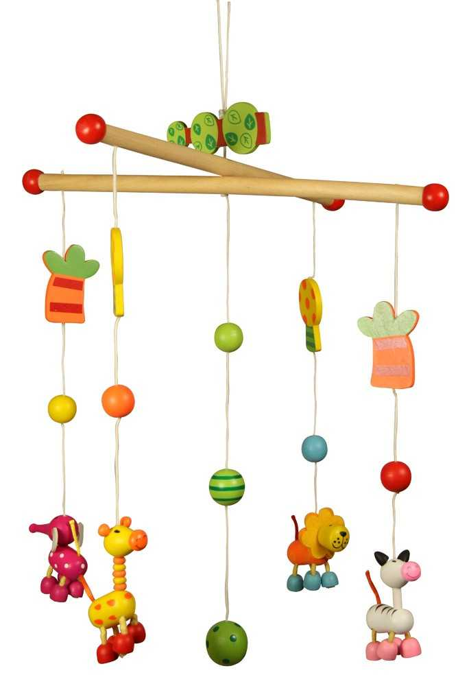 Dřevěné hračky - Závěsný kolotoč - Zvířátka