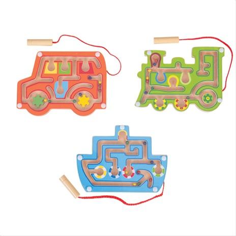 Bigjigs Toys dřevěný magnetický labyrint 1ks  oranžová