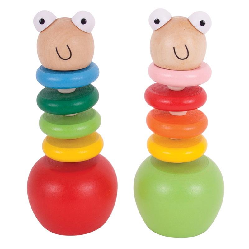 Bigjigs Toys Barevný červík s jablíčkem
