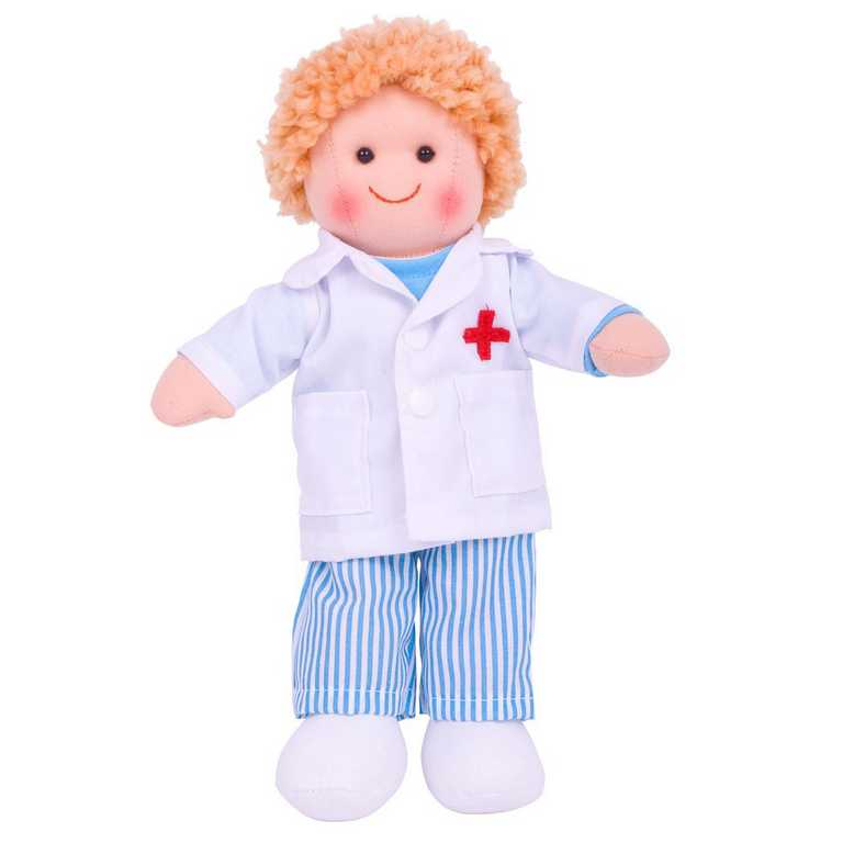 Bigjigs Toys látková panenka doktor Tom 25 cm
