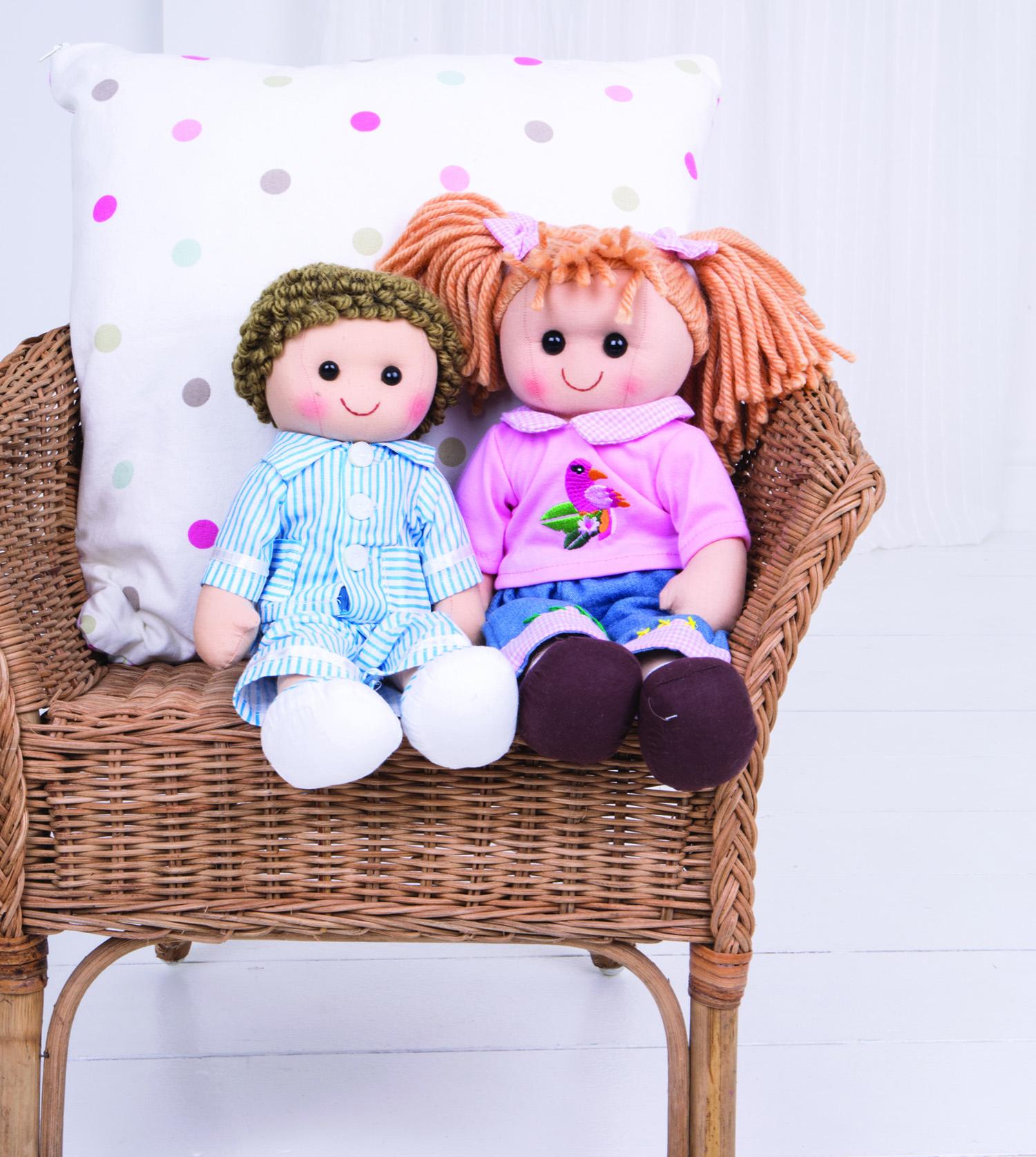 Bigjigs Toys látková panenka Arthur v modrém pyžamu 35 cm