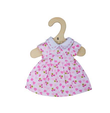 Bigjigs Toys Růžové šaty se srdíčky  pro panenku 28 cm