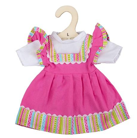 Bigjigs Toys Růžové šaty s pruhovaným lemováním pro panenku 38 cm