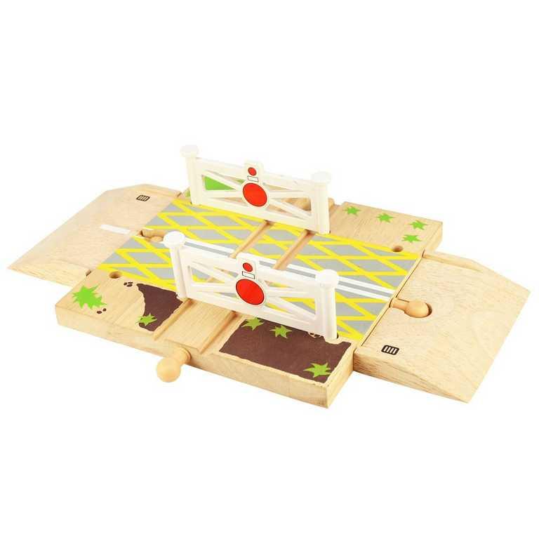 Bigjigs Rail Dřevěné autodráhy železniční přejezd s brankami