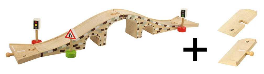 Bigjigs Rail dřevěné autodráhy - Dřevěný most pro auta