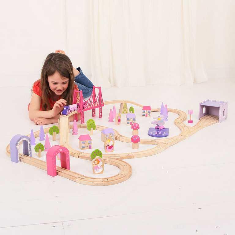 Bigjigs Rail Dřevěná velká vláčkodráha princezny