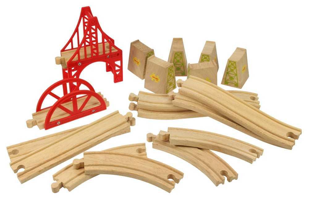 Bigjigs Rail Dřevěné koleje set most 18 dílů
